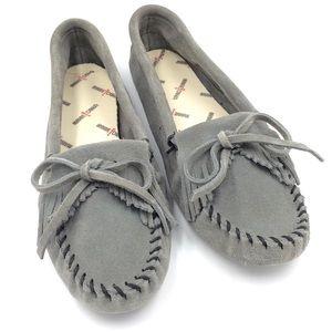 Minnetonka Kitty gray soft-sole slipper moccasins